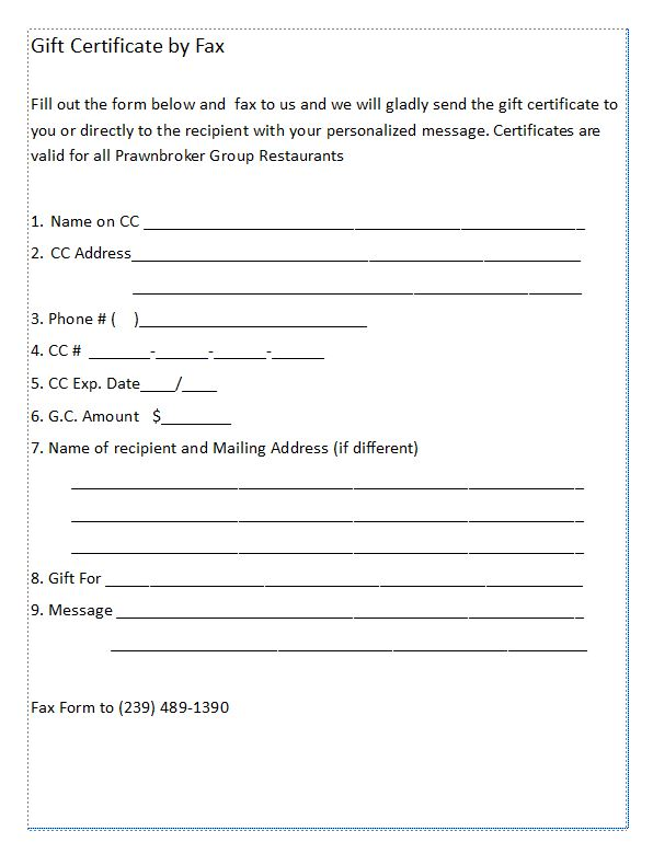 Gift Certificate Form Preview
